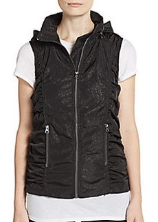 Saks Fifth Avenue BLUE Packable Animal Print Ruched Vest