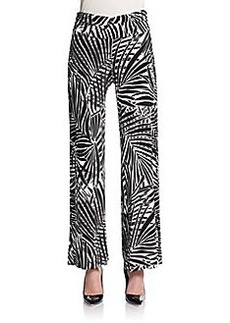 Saks Fifth Avenue BLUE Palm-Print Relaxed Pants