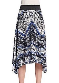 Saks Fifth Avenue BLUE Printed Handkerchief Hem Skirt