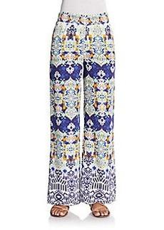 Saks Fifth Avenue BLUE Printed Woven Wide-Leg Pants