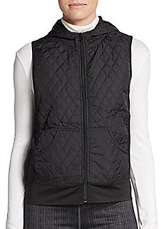 Saks Fifth Avenue BLUE Quilted Hooded Zip Vest