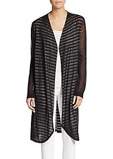 Saks Fifth Avenue BLUE Sheer-Sleeve Striped Duster Cardigan