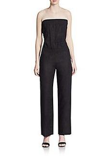 Saks Fifth Avenue BLUE Strapless Linen Jumpsuit