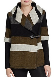 Saks Fifth Avenue BLUE Striped Boiled Wool-Blend Toggle Coat