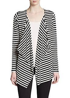 Saks Fifth Avenue BLUE Striped Drape Cardigan