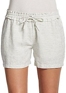 Saks Fifth Avenue BLUE Striped Linen Shorts