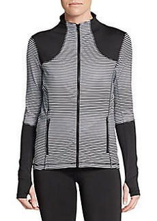 Saks Fifth Avenue BLUE Striped Mockneck Zip Jacket