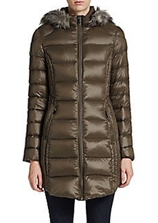 Saks Fifth Avenue BLUE Three-Quarter Hooded Puffer Coat