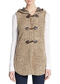 Saks Fifth Avenue BLUE Boucle Hooded Toggle Vest