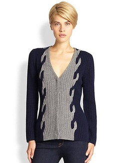 Saks Fifth Avenue Collection Bi-Colored Cable-Knit Cardigan