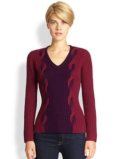 Saks Fifth Avenue Collection Bi-Colored Cable-Knit Sweater