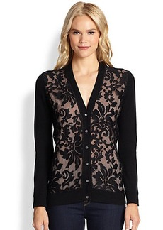 Saks Fifth Avenue Collection Cashmere Lace-Overlay Cardigan
