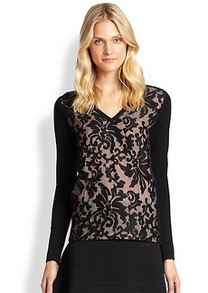 Saks Fifth Avenue Collection Cashmere Lace-Overlay Sweater