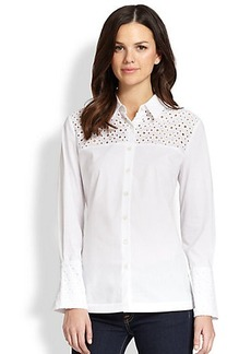 Saks Fifth Avenue Collection Eyelet-Trimmed Button-Down Shirt