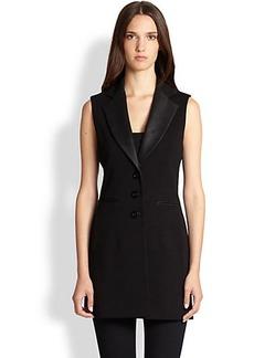 Saks Fifth Avenue Collection Faux-Leather-Detail Vest