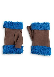 Saks Fifth Avenue Collection Fingerless Shearling-Lined Leather Gloves
