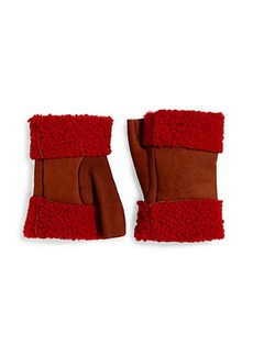 Saks Fifth Avenue Collection Fingerless Shearling-Trimmed Leather Gloves