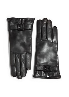 Saks Fifth Avenue Collection Leather Buckle Gloves