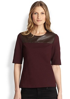 Saks Fifth Avenue Collection Leather-Trimmed Knit Top