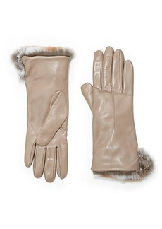 Saks Fifth Avenue Collection Rabbit Fur Cuff Leather Gloves