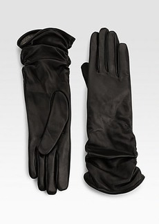 Saks Fifth Avenue Collection Ruched Leather Gloves