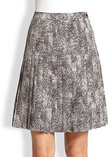 Saks Fifth Avenue Collection Silk Pleated Print Skirt