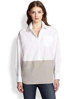 Saks Fifth Avenue Collection Stretch Poplin Colorblock Blouse