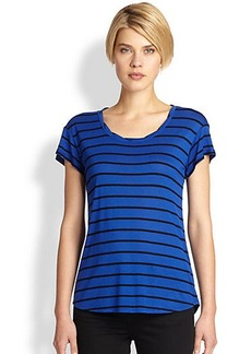 Saks Fifth Avenue Collection Striped Crewneck Cuffed Muscle Tee