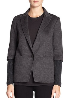 Saks Fifth Avenue Collection Wool & Cashmere Ribbed Jacket