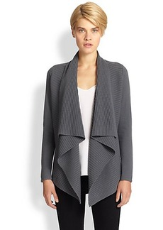 Saks Fifth Avenue Collection Wool/Cashmere Ribbed Waterfall Cardigan