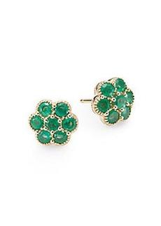 Saks Fifth Avenue Emerald & 14K Yellow Gold Flower Stud Earrings