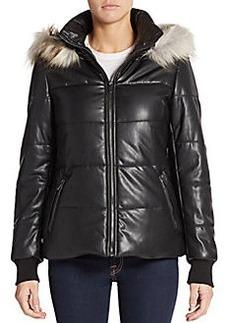 Saks Fifth Avenue Faux Fur-Trimmed Faux Leather Coat