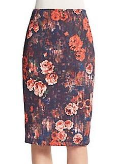 Saks Fifth Avenue Floral Scuba Midi Skirt