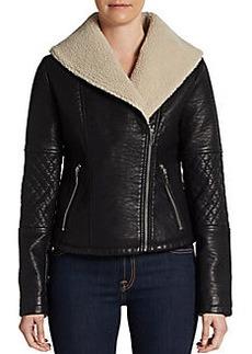 Saks Fifth Avenue GRAY Faux Shearling Moto Jacket