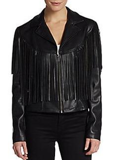 Saks Fifth Avenue GRAY Fringe-Trim Faux Leather Jacket