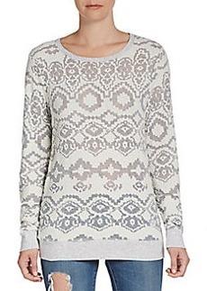Saks Fifth Avenue GRAY Ganado Patterned Slub-Knit Pullover