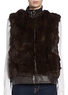 Saks Fifth Avenue GRAY Leather-Trimmed Rabbit Fur Vest