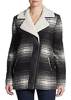 Saks Fifth Avenue GRAY Plaid Faux Shearling-Trimmed Coat