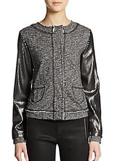Saks Fifth Avenue GRAY Sequin Sleeve Sweater Jacket