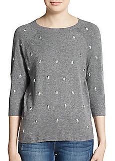 Saks Fifth Avenue GRAY Studded Three-Quarter Sleeve Sweater