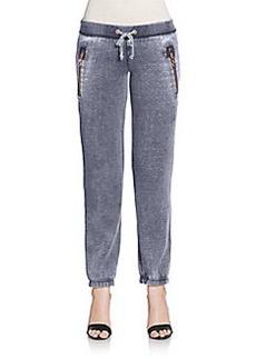 Saks Fifth Avenue GRAY Zip Pocket Fleece Jogging Pants