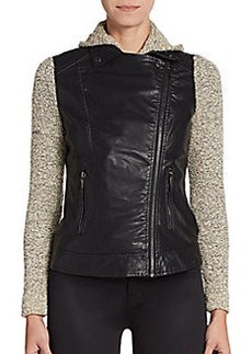 Saks Fifth Avenue Knit Paneled Faux Leather Moto Jacket