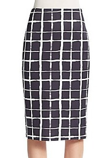 Saks Fifth Avenue Painted-Plaid Scuba Midi Skirt