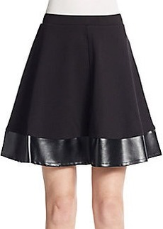 Saks Fifth Avenue Ponte & Faux Leather A-Line Skirt