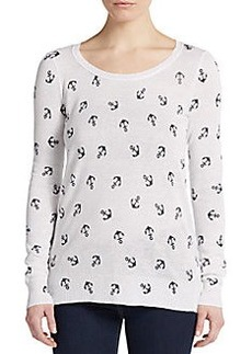 Saks Fifth Avenue RED Anchor Print Flyaway Sweater