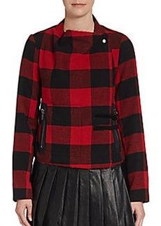 Saks Fifth Avenue RED Buffalo Plaid Convertible Collar Jacket