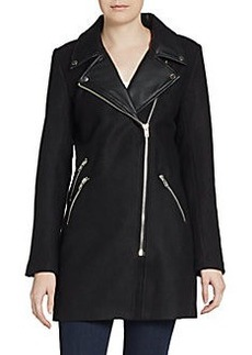 Saks Fifth Avenue RED Faux Leather Accented Wool-Blend Biker Coat