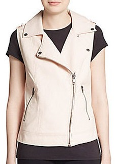 Saks Fifth Avenue RED Faux Leather Moto Vest