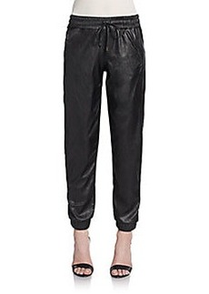 Saks Fifth Avenue RED Faux Leather Tapered Jogger Pants