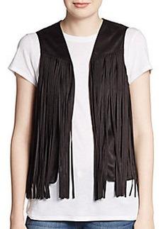Saks Fifth Avenue RED Faux Suede Fringe Vest